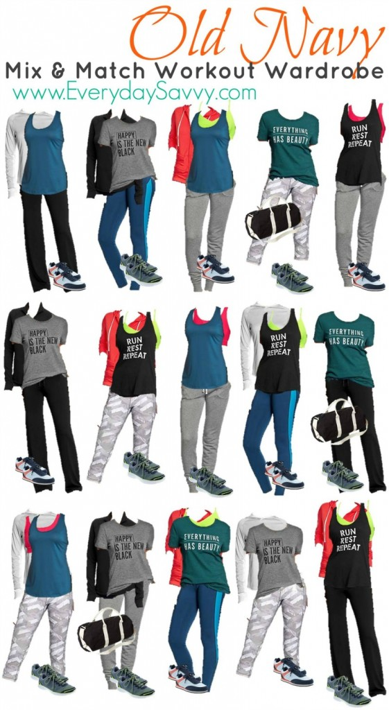 Mix and Match Workout outfit ideas from Old Navy.