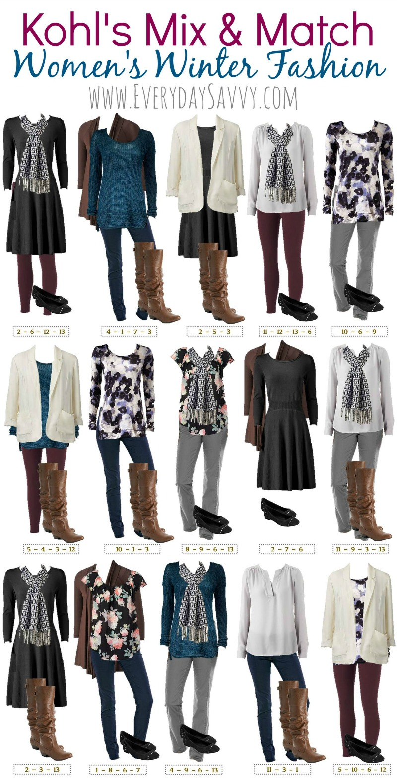 winter mix and match outfits from kohls. Black Bedroom Furniture Sets. Home Design Ideas