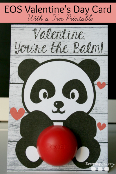 Check out these free printable EOS Lip Balm Cards. There is an EOS Valentine card printable and another EOS lip balm card that make a cute EOS Gift or EOS favor.
