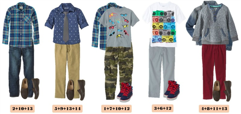 Spring Mix and Match Outfits for boys. Includes both casual boy outfits and more dressy outfits. All from the same group of mix and match items.