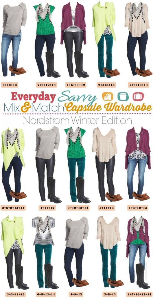 Nordstrom Mix and Match Capsule Wardrobe outfits. Lots of fun color and prints.