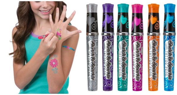 Toys Spa Sketch And Sparkle Tattoo Pens Activity Set With Stencils