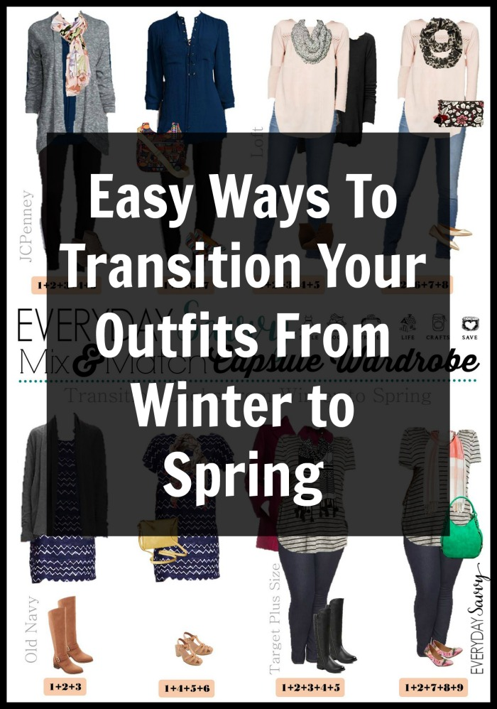 Check out these easy examples of how to transition winter to spring outfits. This same advice also works for transitioning summer outfits for fall. Example pictures that show how swapping shoes and accessories can easily help make your winter clothing perfect for spring weather.