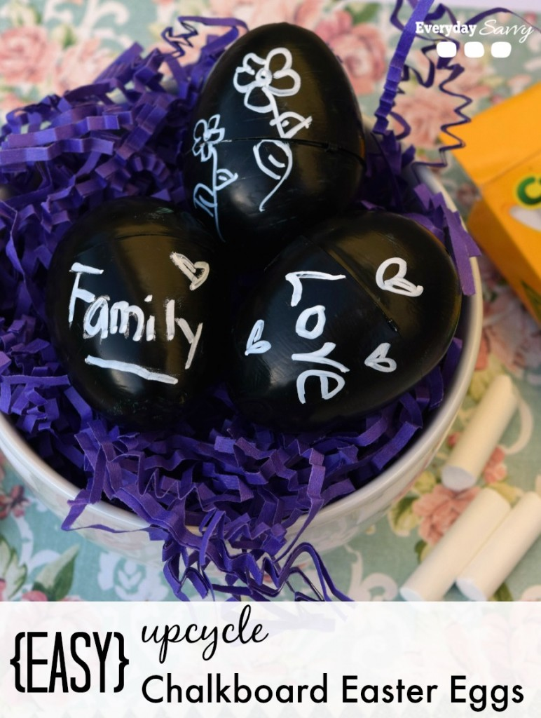 Easy DIY craft chalkboard Easter eggs. How to upcycle plastic Easter eggs in to cute chalkboard Easter egg decorations.