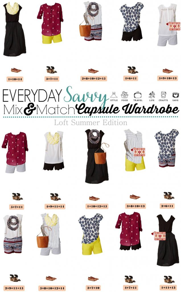 Here is a new loft summer capsule wardrobe. This capsule includes a dress and fun shorts that can be dressed up or down. It also includes cute sandals and bags.