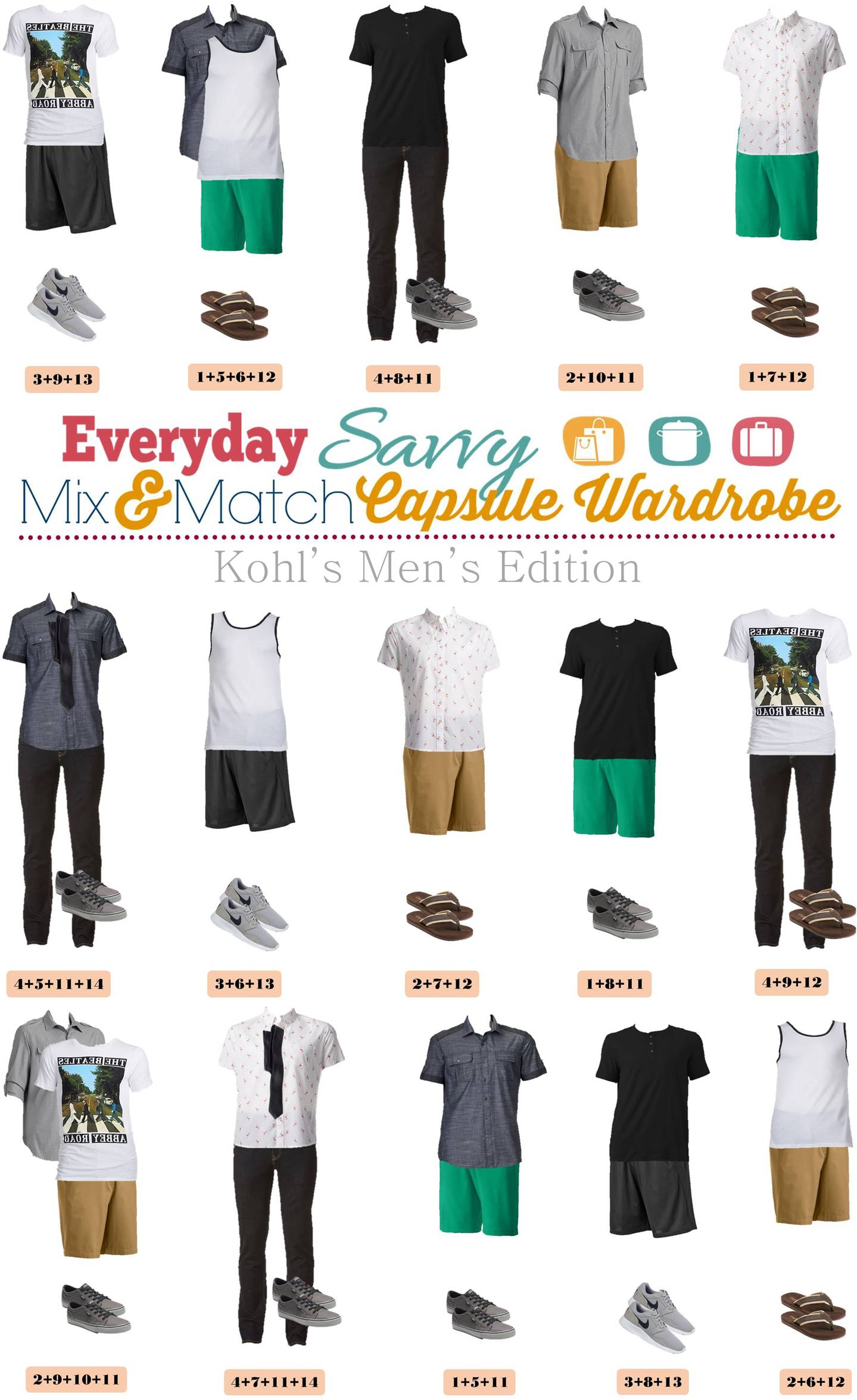 kohls men 39 s capsule wardrobe for spring summer. Black Bedroom Furniture Sets. Home Design Ideas