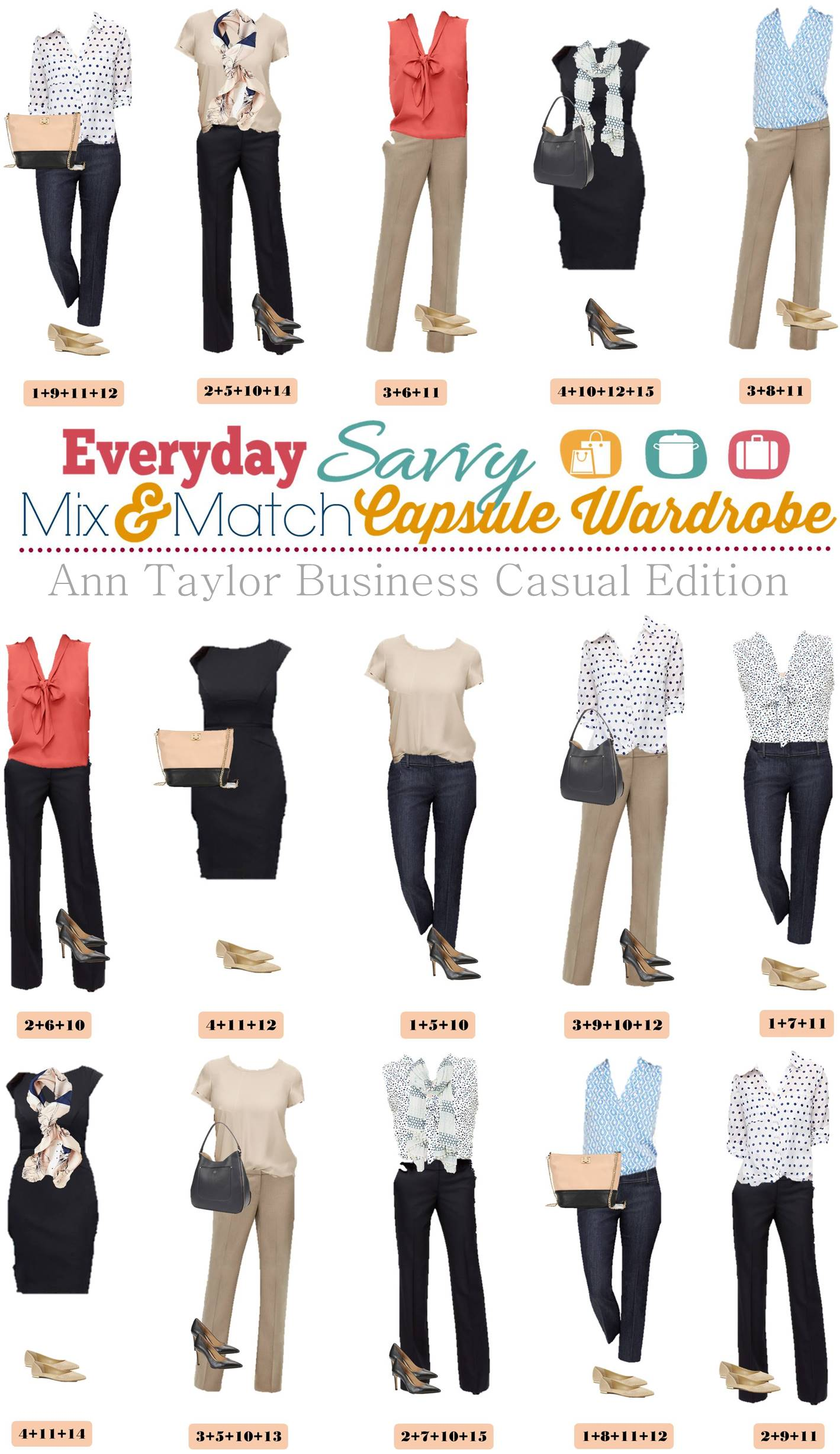 ann taylor business casual capsule wardrobe mix match. Black Bedroom Furniture Sets. Home Design Ideas