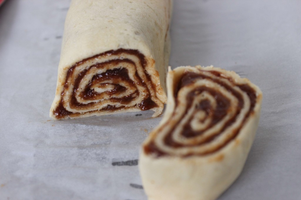 roll up like a jelly roll and cut into pieces