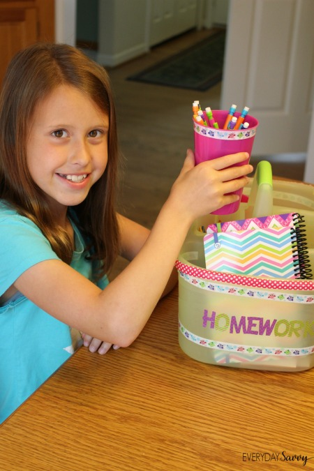 Check out how to easily make your own diy homework station bin with a shower caddy, tumblers and school supplies.