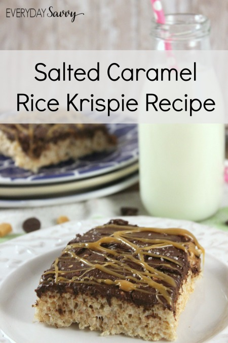 Looking for a yummy treat? Then you will want to check out this Easy Salted Caramel Rice Krispie Recipe. This is  so easy to make but looks and tastes amazing. How can you go wrong with rice krispies, caramel and chocolate. Plus there is no baking required!  I promise I won't tell anyone how easy it is to make!