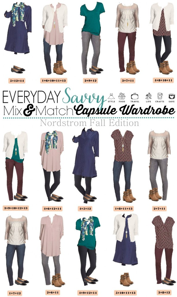 Here is a new Fall capsule wardrobe with all items from the Nordstrom Anniversary Sale.   This capsule includes everything you need for most fall activities. I am loving the colored jeans and comfy leggings plus the lace top adds some glam. We added a fun jewel tone top and a dress to round out the looks. I am in love with the Kendra Scott necklace that looks amazing with everything.  The booties double belt gives that extra special touch to each outfit.