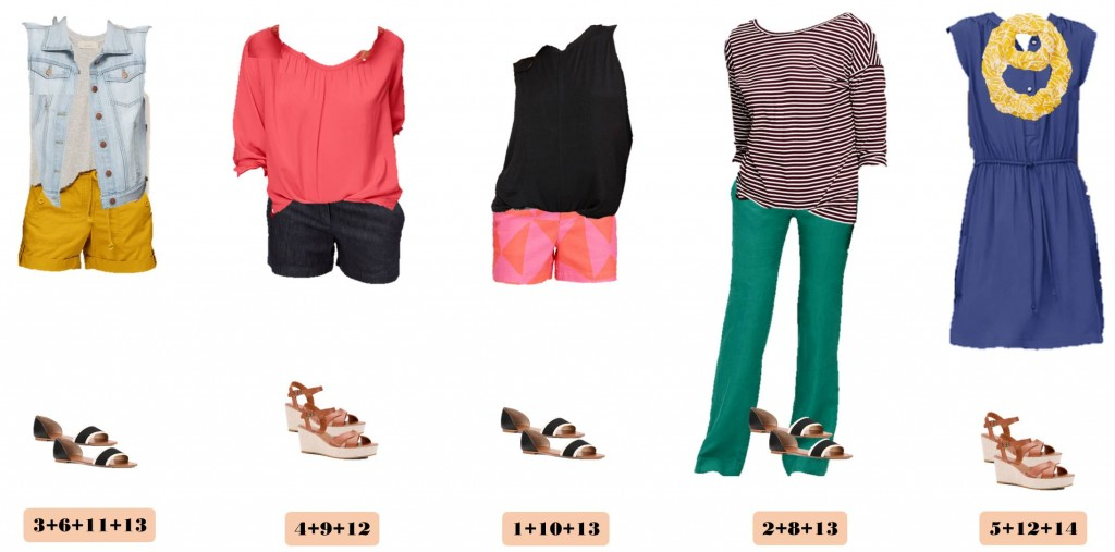 summer capsule wardrobe with all items from Loft. This capsule includes fun printed shorts that can be dressed up or down. I love that these print shorts are fun and stylish and not a basic neutral. I also love that wedges or cute D'Orsay Striped Sandals are a perfect match for any of these outfits. This is great for travel and you could easily fit all these pieces in a small carry on bag and have 15 outfit combinations!