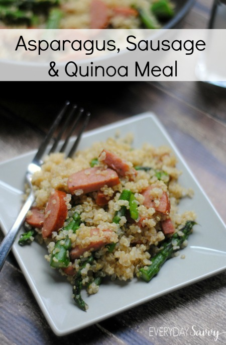 Looking for a healthy and easy meal? Check out this Sausage, Asparagus & Quinoa Meal Recipe. This meal is so simple to make but flavorful and sure to become a family favorite.