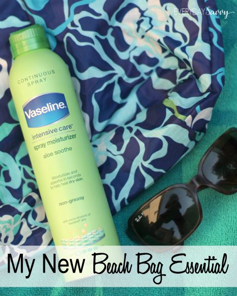 I keep all my beach bag essentials standbys in the bag including sun screen and a fun beach read but my new beach bag essential is Vaseline Intensive Care Spray Moisturizer.