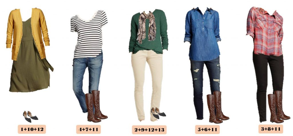 Fun new Target Fall Capsule Wardrobe. These pieces mix and match for 15 great outfits that will have you looking great this fall. I love the muted plaid shirt, olive green dress and mustard cardigan. All perfect for fall!