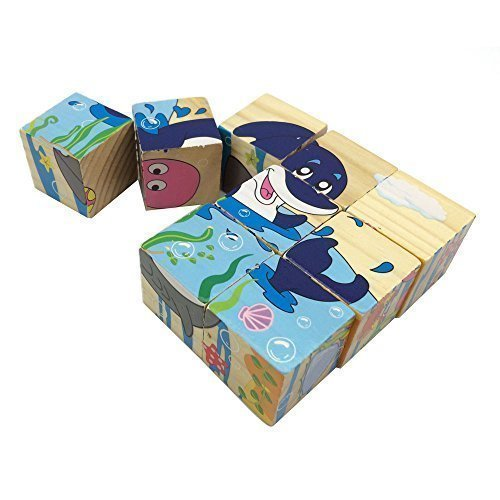 Rolimate Ocean Animals Cute Wooden Block Puzzles