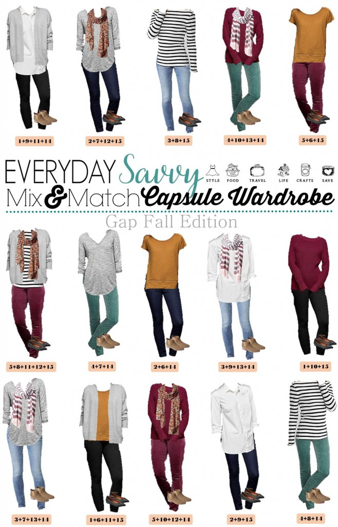 Check out this new Gap capsule wardrobe for fall. It includes fun colored cords, lots of great basic tops and super cute booties! This set has just 15 pieces including 2 pairs of shoes. You could add a fun print tops you already own and have even more outfits.