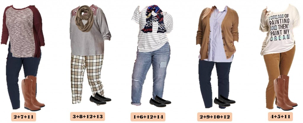 old navy plus size capsule wardrobe fall - mix & match outfits