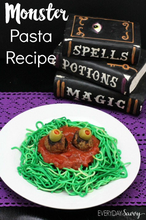 Check out this fun and easy monster pasta recipe. This works great for a fun Halloween meal or for a monster themed party.
