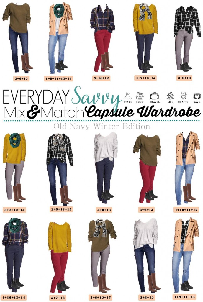 This fun casual Old Navy Winter capsule wardrobe will having you looking great this winter. It is so easy to mix and match these pieces including colored pants, plaid shirts and a cozy scarf and jacket. everydaysavvy.com