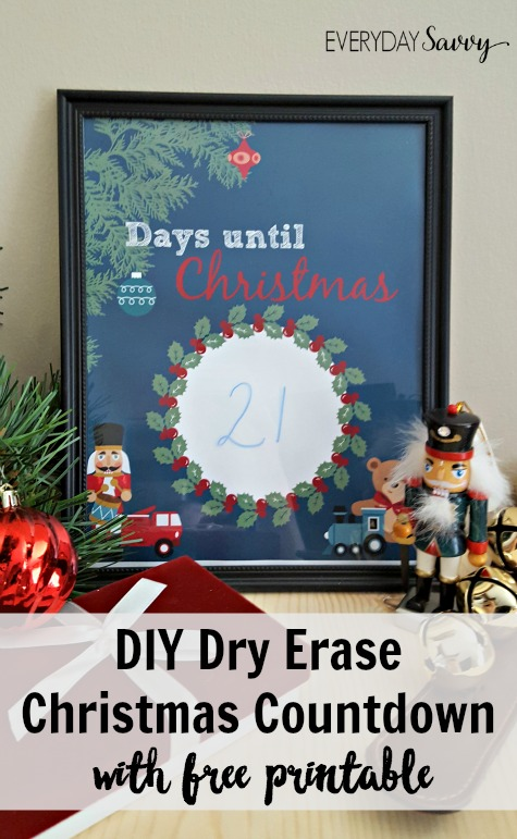 Here is an easy DIY Countdown to Christmas Printable and directions on how to make a cute Dry Erase frame. The frames can be cleaned each day by simply using a paper towel to remove the marks from the dry erase marker.