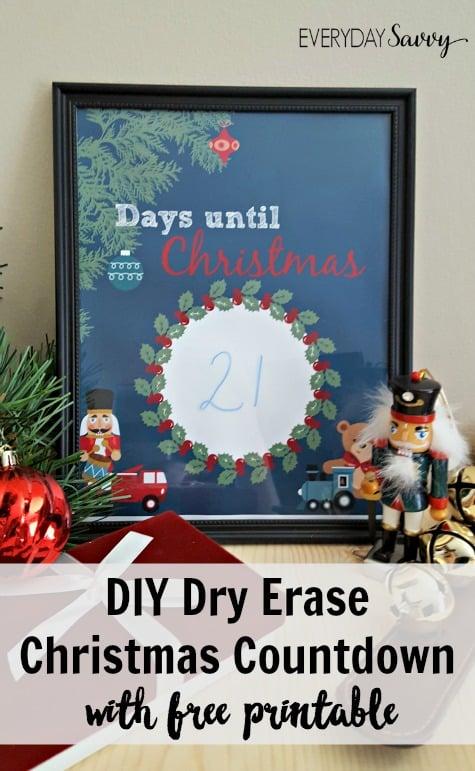 Easy DIY Countdown to Christmas Printable - Dry Erase Frame