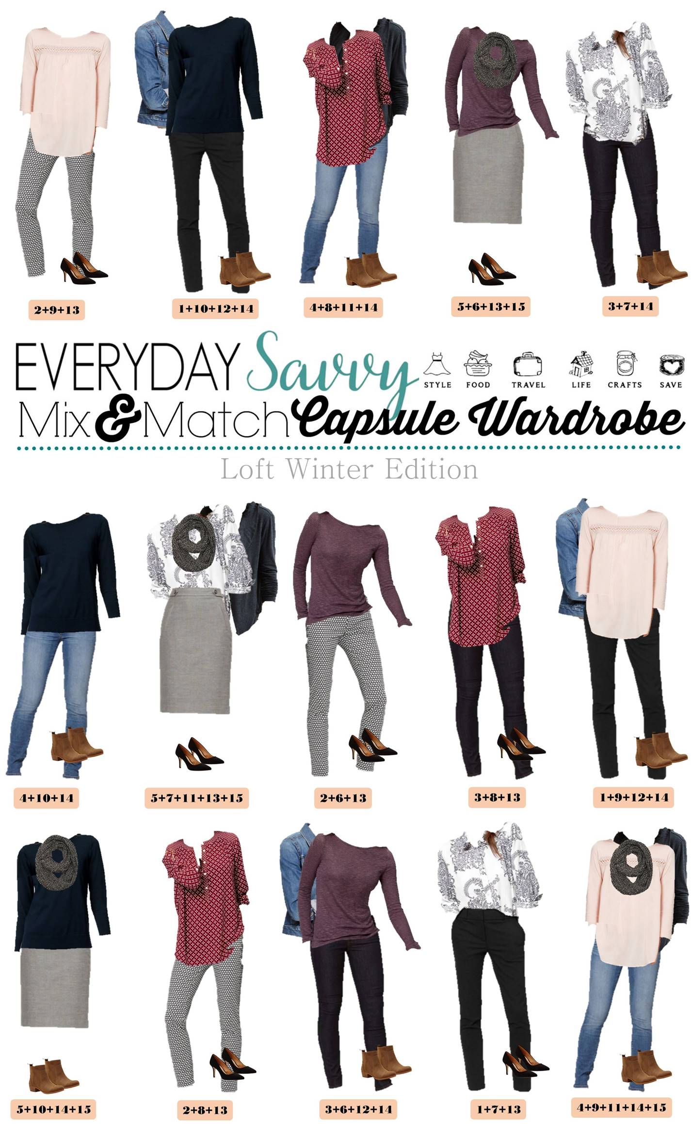 Winter Capsule Wardrobe For 2017 And 2018: Loft Winter Capsule Wardrobe Mix & Match Outfits