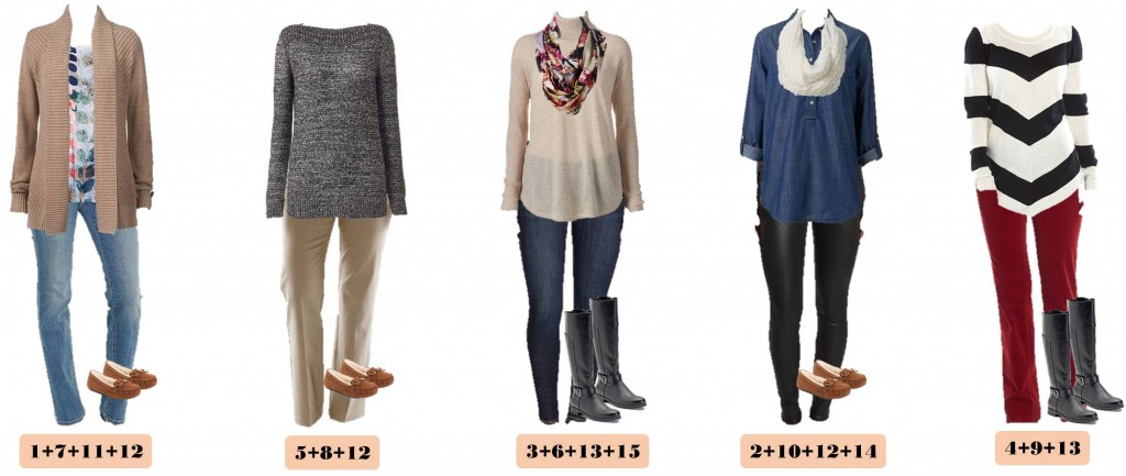 Here is a new Kohl's winter capsule wardrobe. I love the chevron sweater and comfy leggings. These pieces mix and match for 15 great outfits that will have you looking great this winter The outfits have pattern and color and show that a mini capsule wardrobe doesn't have to be just boring neutrals.