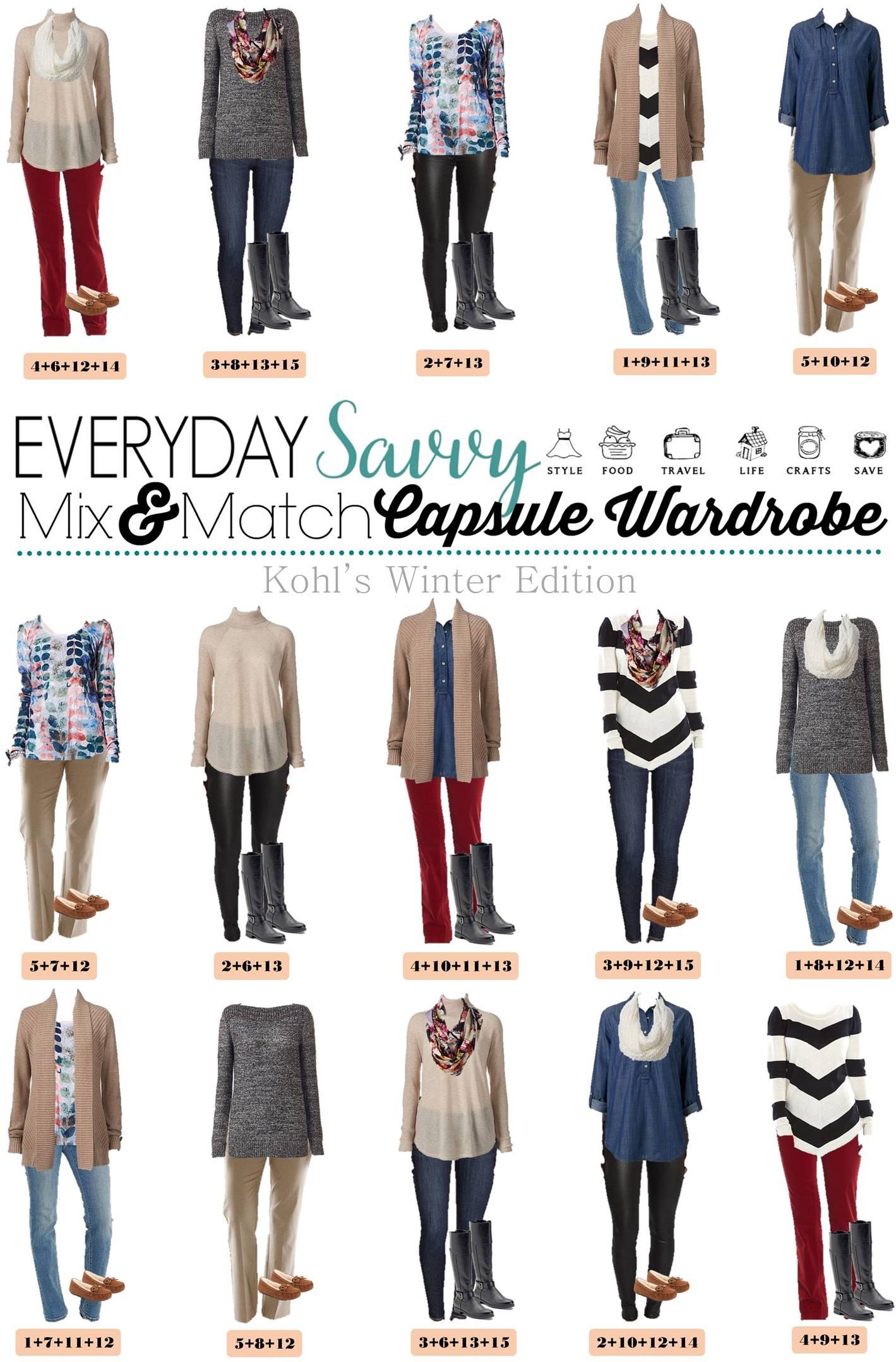 Mix And Match Kohls Winter Capsule Wardrobe