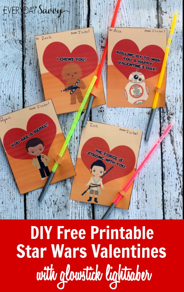 Diy Printable Star Wars Valentines Cards With Glowstick