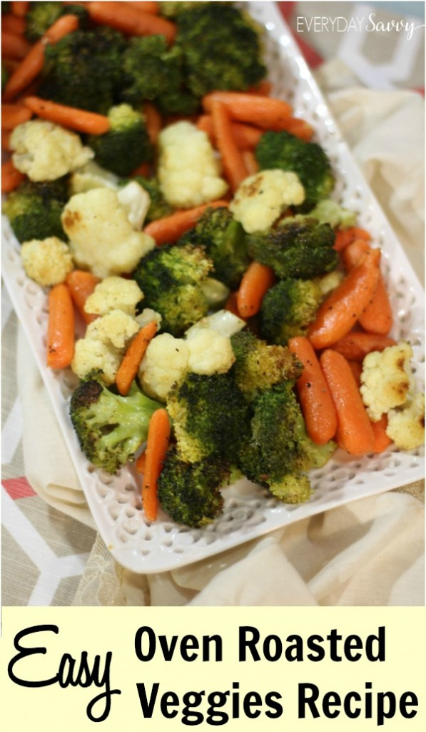 oven roasted vegetables - broccoli, carrots and cauliflower on serving tray