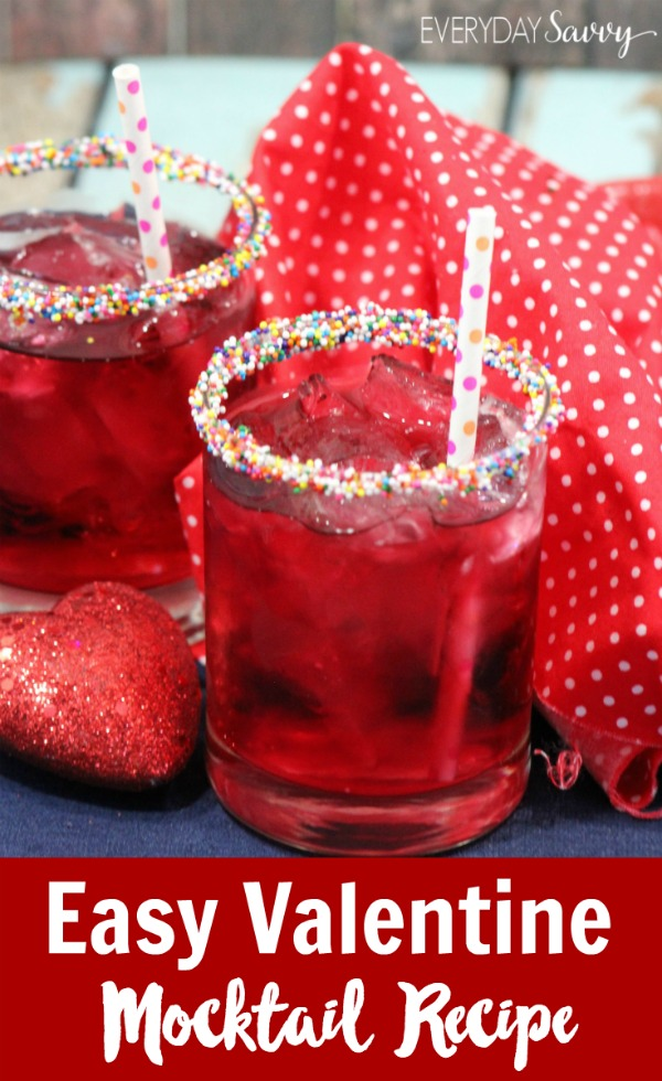 Here is an easy mocktail recipe that works great for valentine's day or a party. The sprinkles on the rim make this drink special but are so easy to add. This drink is great for kids and adults.