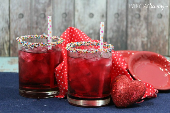 here is an easy mocktail recipe that works great for valentines day or a party
