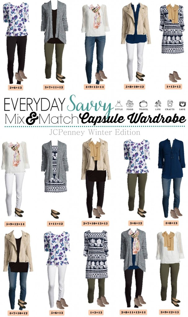 Check out this JCPenney capsule wardrobe that works great in the winter but will also easily transition to spring. These 15 mix & match outfits included will have you looking great while still being comfy. It includes white jeggings that are in style even in the winter.