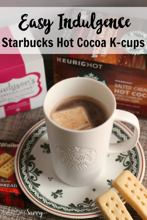 Indulge yourself with Starbucks Hot Cocoa k-cups. They are super yummy and easy to make. An easy treat to make with your Keurig. Made with real cocoa and non-fat milk, new Classic and Salted Caramel flavors let you indulge at the press of a button.