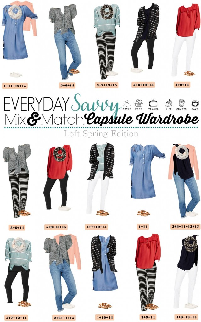 Fun new spring Loft capsule wardrobe with great mix and match outfits. This capsule includes some fun pops of color & stripes and easy slide on sneakers.