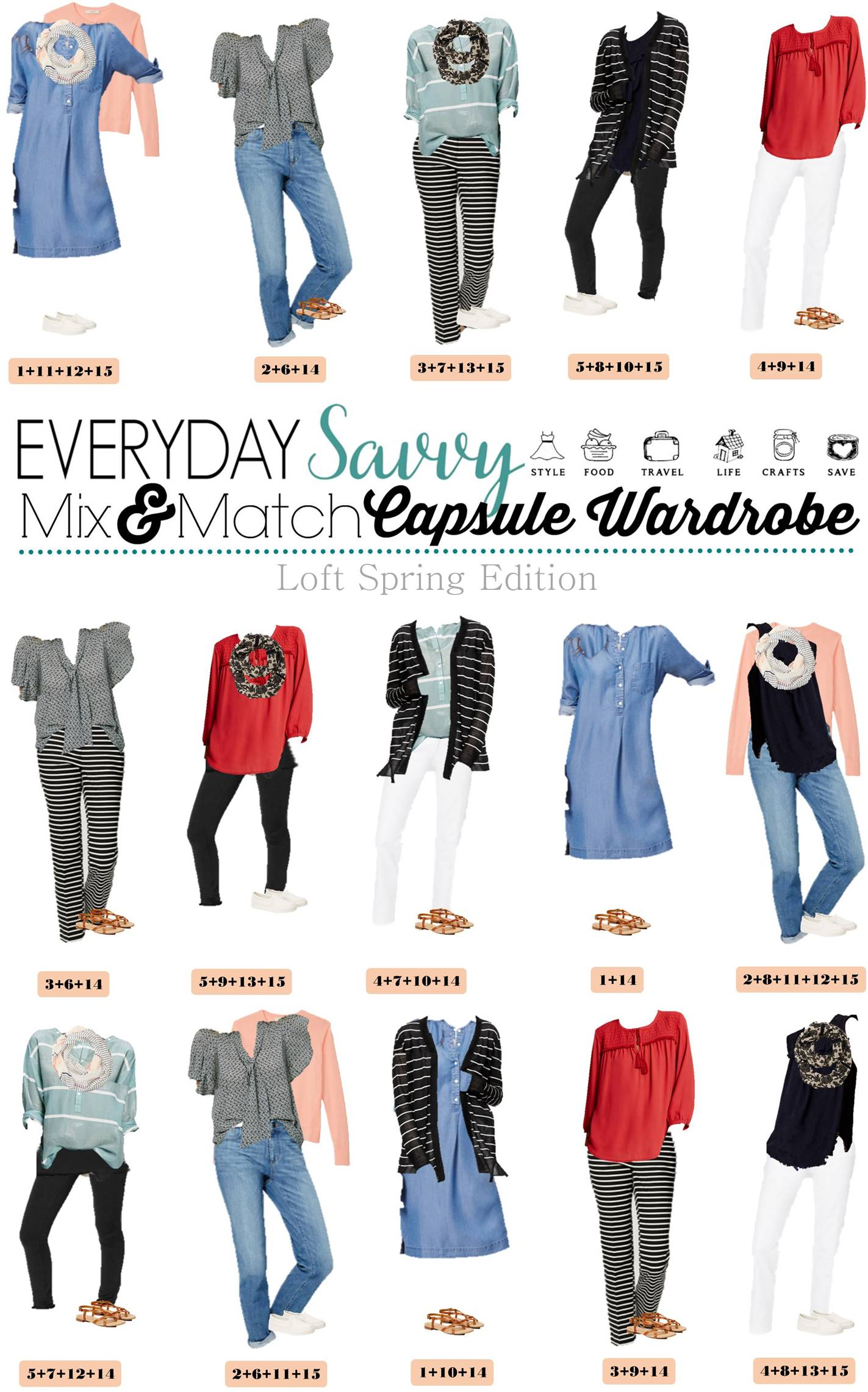 Loft Spring Capsule Wardrobe Mix And Match Outfits