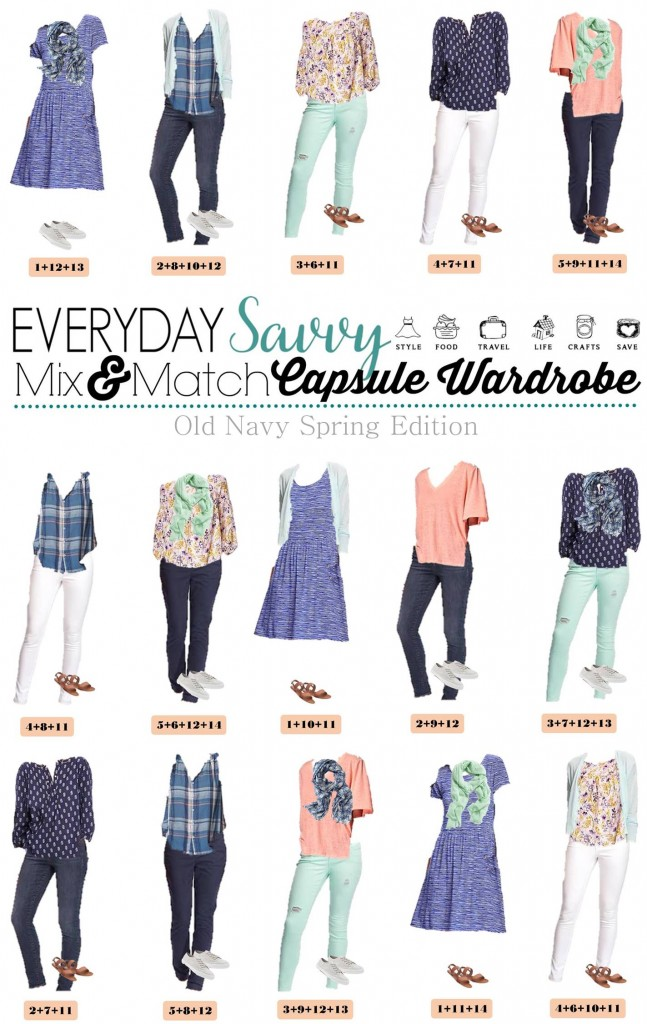 This new Old Navy Spring Capsule Wardrobe just might be my favorite! I am a sucker for the blues, mint and coral with the floral and stripes. Mint jeans and white jeans are both in style this spring.