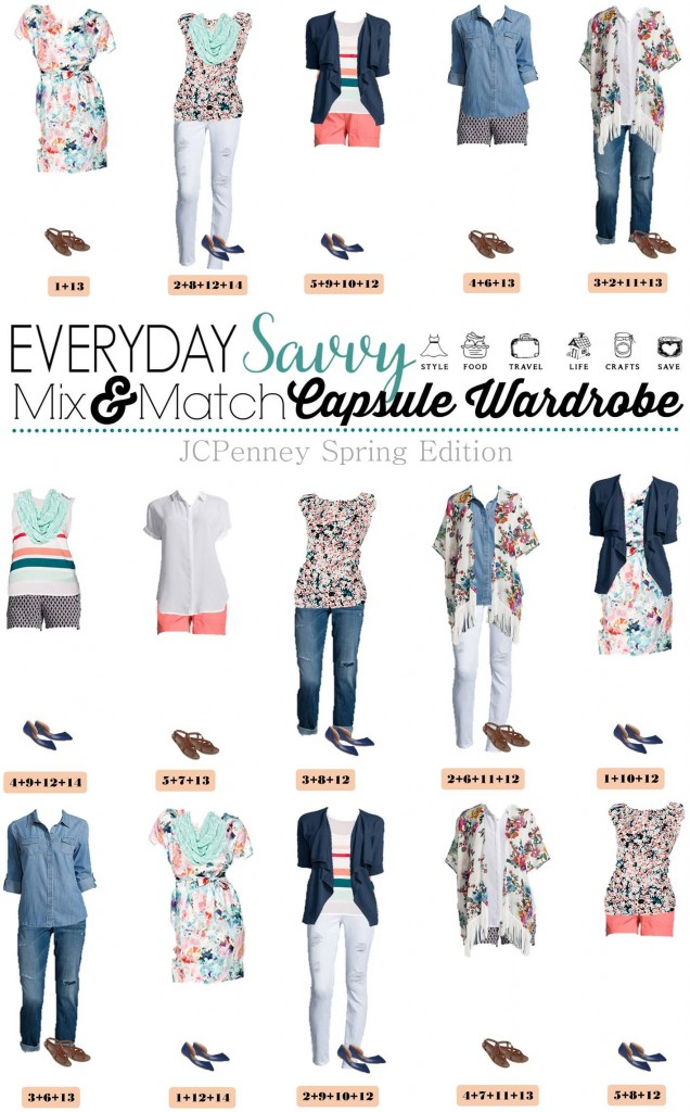 Here is a new spring & summer capsule wardrobe with all with items from JCPenney. This capsule is fun and includes some great pattern mixing. I am loving pastels for spring and this JCPenney capsule is full of them. It includes fun floral and shades of mint, coral, and light blue. You will look great at most any occasion from hanging out with the kids at the park to a dinner date!