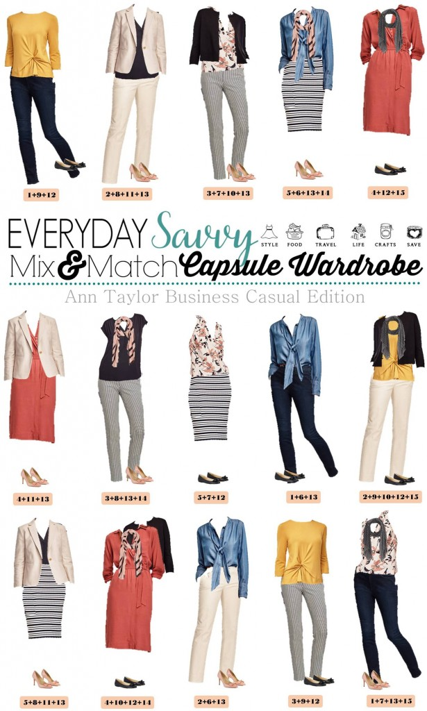 Fun Ann Taylor Business Casual capsule wardrobe. Includes pop of color, florals and stripes along with the basics.