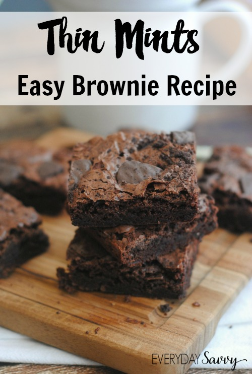 This simple to make Thin Mints Brownie Recipe combines two of our favorite things and makes an amazing sweet treat. Take your Girl Scout Thin Mint Cookies to the next level with Thin Mints Brownies.