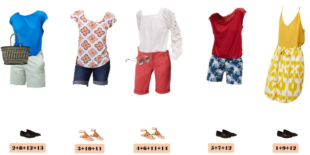 New loft summer capsule wardrobe. This capsule includes a dress and fun shorts that can be dressed up or down. It also includes cute sandals and bag.