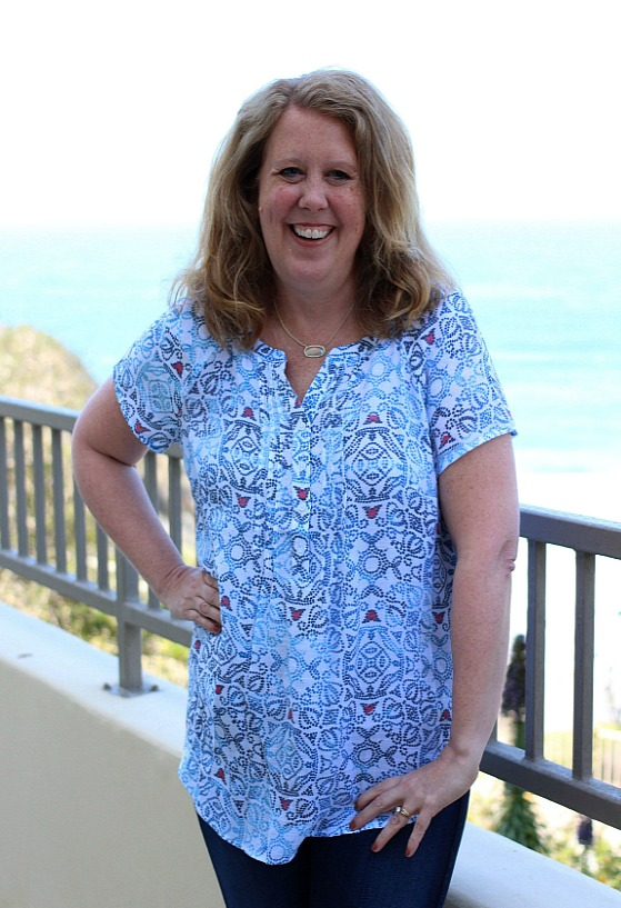 Christopher & Banks has you ready for summer with lots of red, white and blue clothing options that are perfect for Memorial Day and Fourth of  July.   I love this  Blue Printed Soft Textured Popover Blouse . It is light weight with pintuck details.