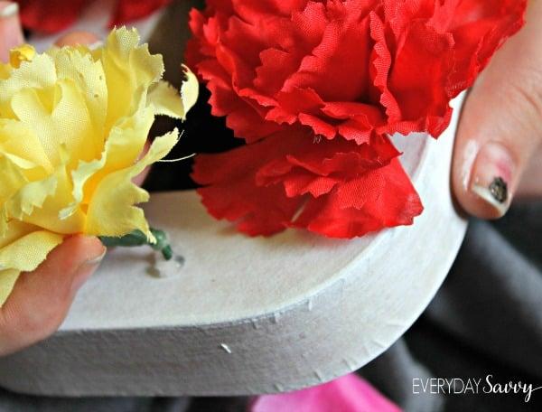 flower initials gluing flowers 2