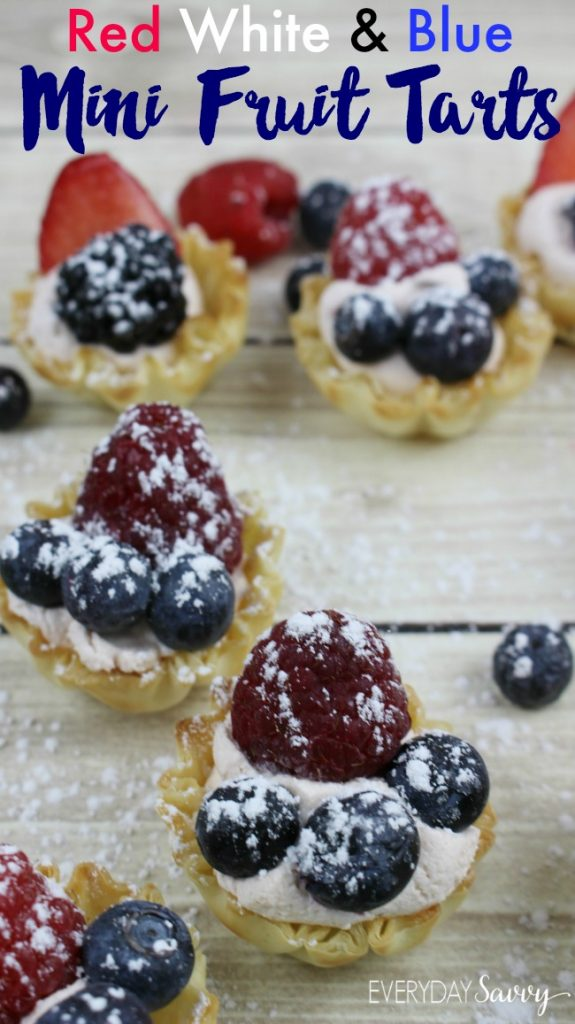 Here is an easy Fourth of July Dessert. This red white and blue dessert fits any patriotic theme including Memorial Day. I love the fresh berries. Yummy red, white and blue mini berry tarts