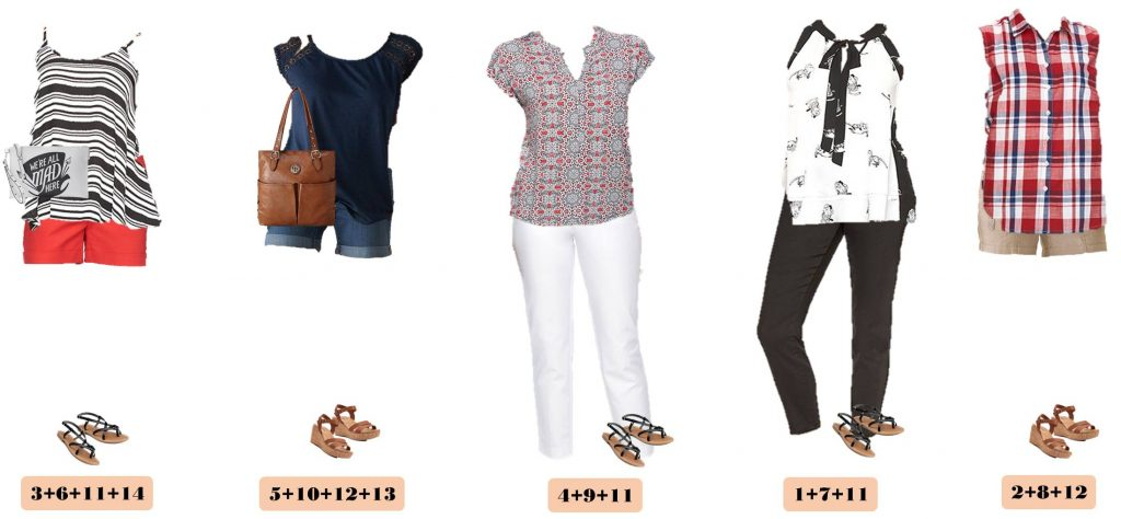Fun Kohls Summer Outfits. These pieces mix and match for 15 different outfits for summer. This is a great summer mini capsule wardrobe