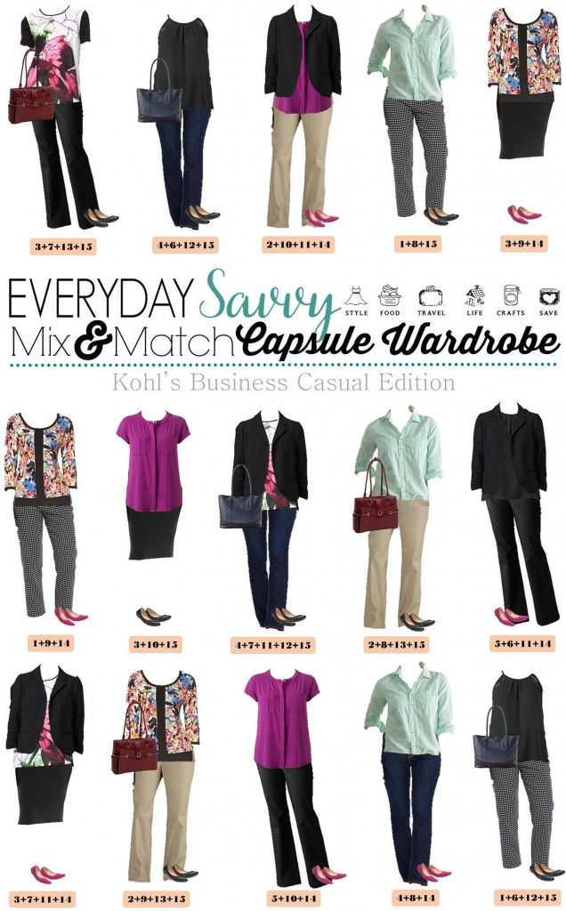 Here is a new board of Kohls Business Casual Spring Outfits. These pieces mix and match for 15 great outfits that will have you looking great this spring. We even included a cute laptop briefcase and an adorable leather tote. With just a few basic pieces, you can get ready for work and look great in no time at all.