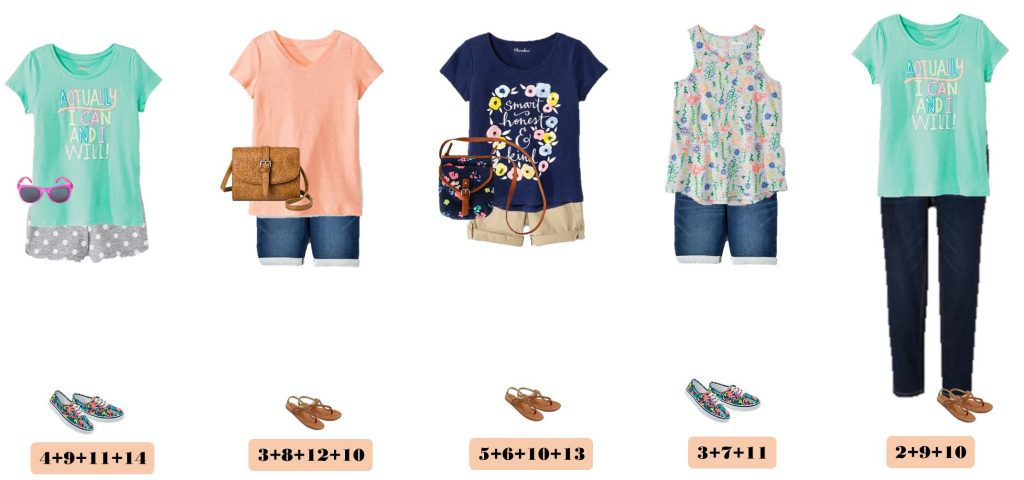 Summer Cute Girl Outfits - Mix and Match Capsule Outfit for Girls