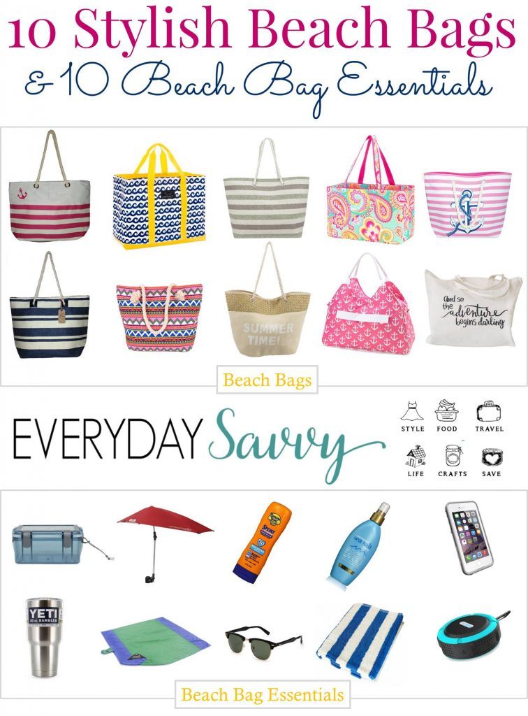 Great list of cute beach bags all available online plus beach bag essentials that we help you have fun & stay organized at the beach or pool.