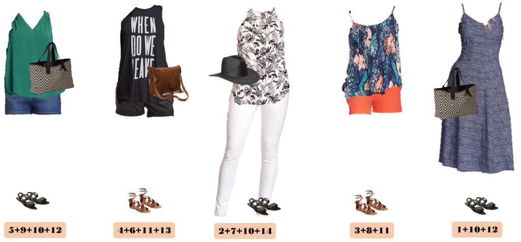 Are you ready for summer? This new Old Navy Summer capsule wardrobe is for you. I love the fun graphic tee, cute patterned tanks, and the fringe crossbody bag that is so on trend this year. This set has just 14 pieces with includes two pairs of shoes, two bags and a hat!!!